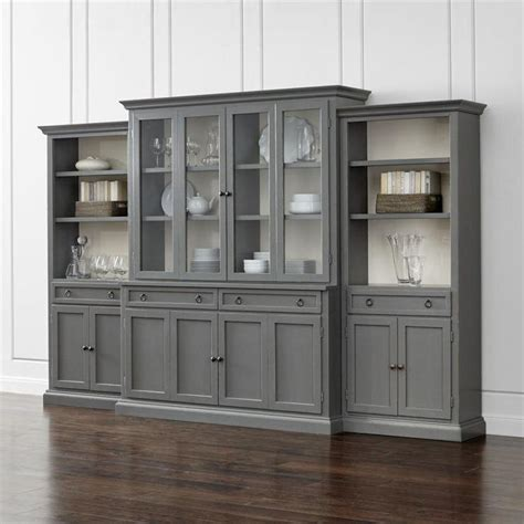 Wall Units With Glass Doors Four Gray Glass Door Wall Unit