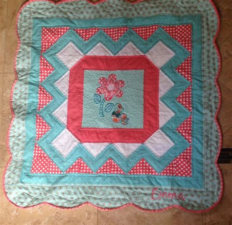 Scalloped Quilts by Turquoise Coral And White Scalloped Edge Baby Quilt With