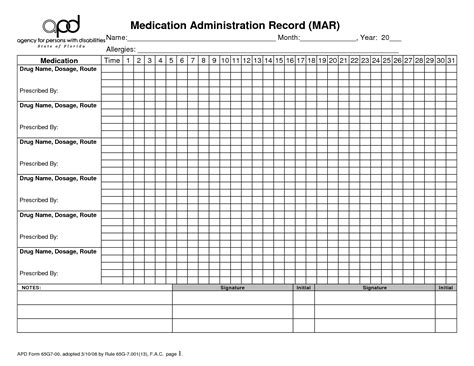 6 best images of drug medication chart printable patient