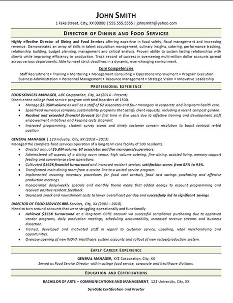 view food services resume exle dining manager