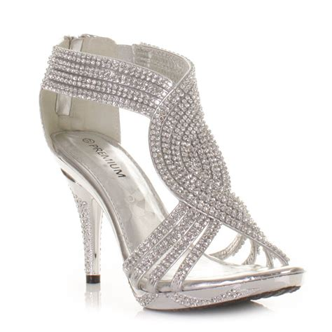 prom shoes for silver womens diamante wedding high heel prom shoes