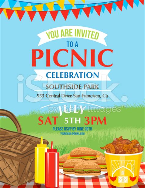 templates for picnic flyers summer picnic and bbq invitation flyer or template text