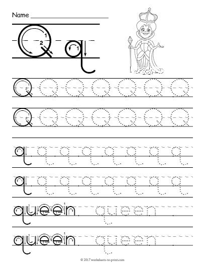 printable worksheets letter q tracing letter q worksheet
