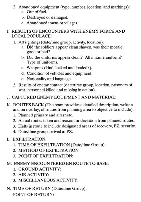 Army Patrol Briefformat Fm 7 93 Appendix I