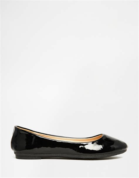 flats shoes lyst black patent ballet flat shoes in black