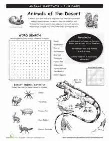 animal habitats deserts worksheet education com