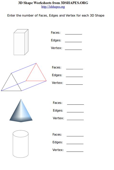 printable math worksheets faces edges and vertices cool geometry worksheets kids under 7 geometric shapes 1