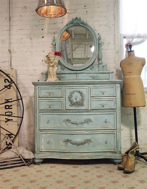painted cottage chic shabby aqua romantic dresser ch15 via