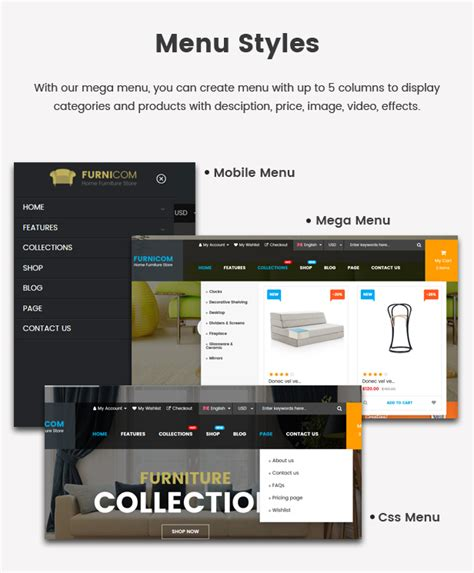 shopify themes with drop down menu furnicom responsive drag drop shopify furniture theme