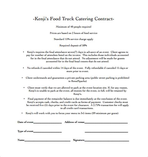 Catering Contract Template 13  Download Free Documents in Word, PDF