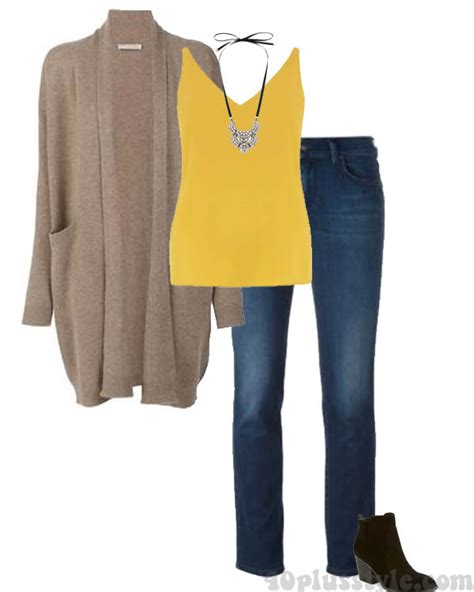 white blazer neutral colored tank black jeans pants how to wear yellow different ways and color combinations