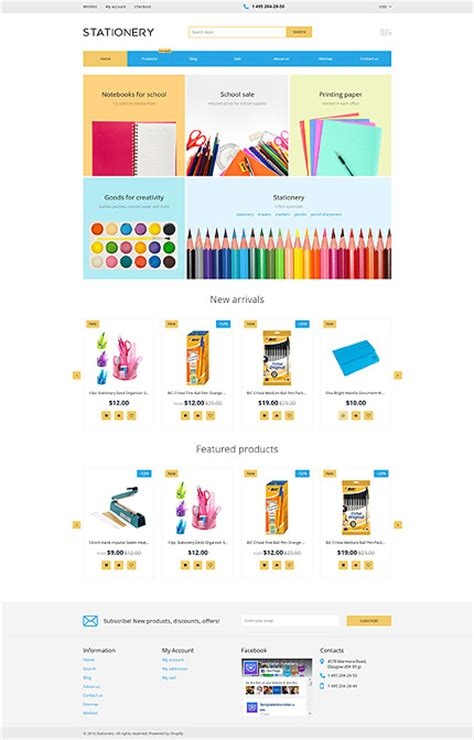 shopify templates free stationary store website template shopify template 62078