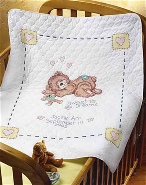 stamped baby quilt kits images  pinterest