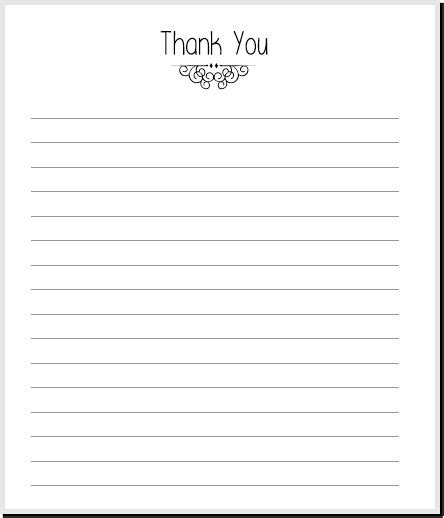 Thank You Letter Blank Template simple thank you note printable planner