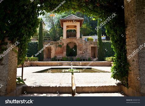grenada pavillon alhambra de granada pavilion pond gardens stock photo