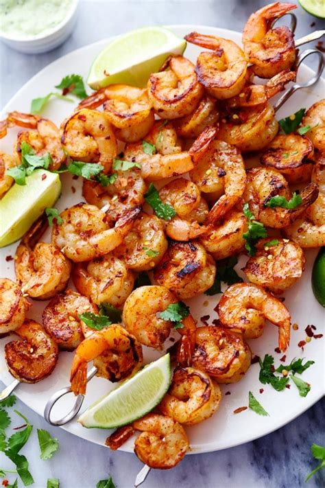 recipe shrimp and scallion skewers with creamy grilled pepper sauce spicy shrimp kabobs on the grill