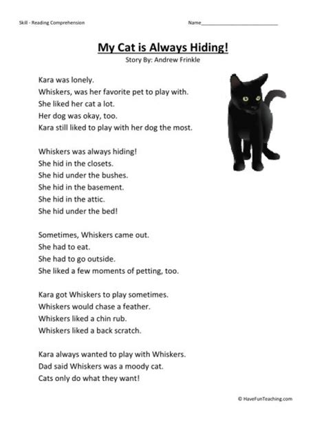 reading comprehension test online for cat reading comprehension worksheet my cat is always hiding