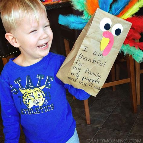 How To Make A Paper Bag Turkey - paper bag turkey puppets thanskgiving craft crafty morning
