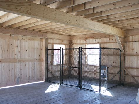 dog kennel in garage loft supporting beam clear span construction