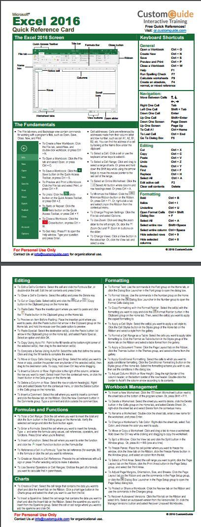 excel formula cheat sheet pdf excel 2016 quick reference card http www customguide