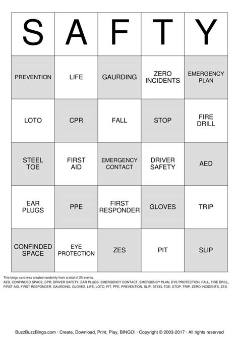 safety bingo template bingo cards to print search results calendar 2015