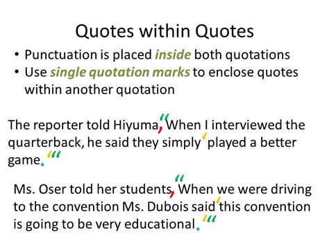 do you always put end punctuation inside quotation marks using quotation marks ppt download