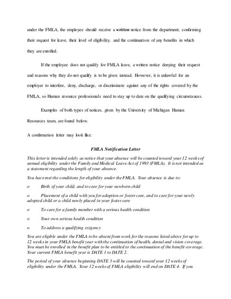 Fmla Cover Letter by Fmla Exhausted Sle Letter