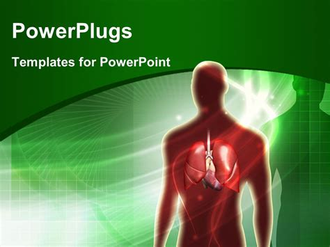 Powerpoint Template Human Anatomy With Lungs Over Green Powerplugs Powerpoint Templates