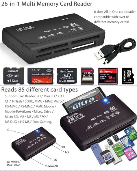 1 Usb 2 0 Multi Memory Card Reader mini 26 in 1 usb 2 0 universal high speed multi memory