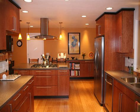 bamboo flooring kitchen with amazing lighting decobizz