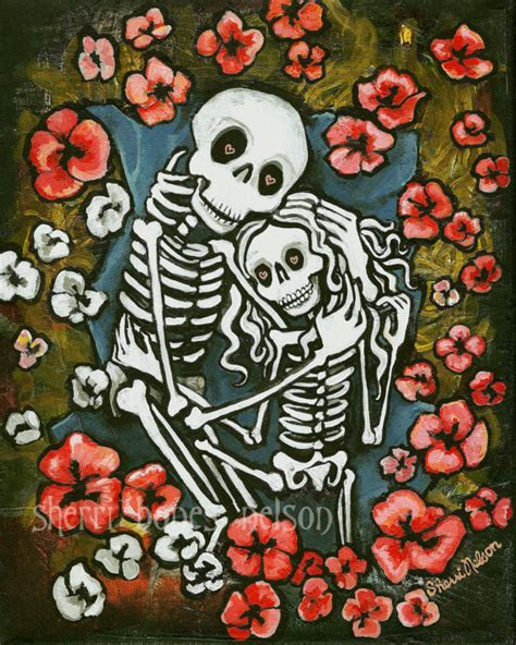 romantic day of the dead art skeleton couple by bonesnelson