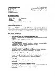 Resume Format For Teachers In India by Resume Format For Teachers In India Resume Template Exle