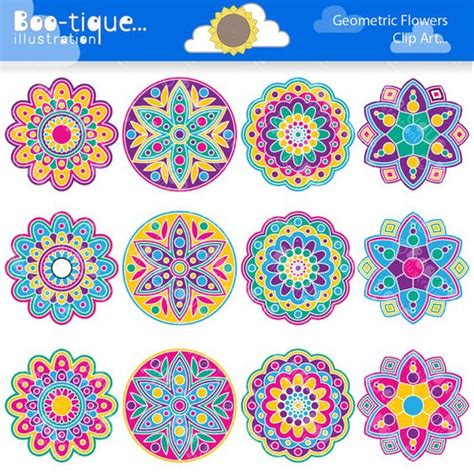 geometric pattern rangoli geometric flowers clipart set for instant download