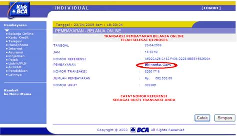 pembayaran batik air via atm bca bayar belanja online di bca klikpay aja swa co id