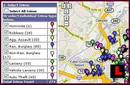 Atlanta Crime Map by Crime Mapping Atlanta