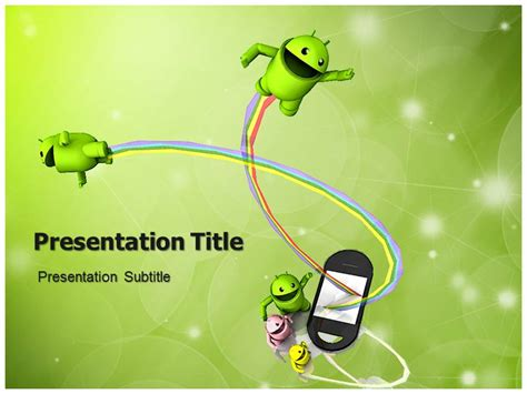 Android Powerpoint Template Background With Robot Icon Ppt Template For Android Android Powerpoint Template