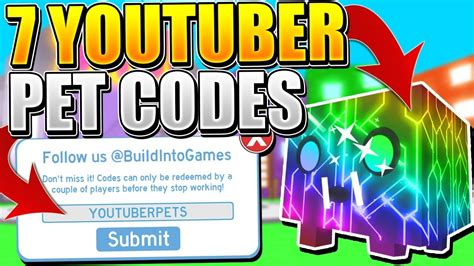rainbow youtuber pet codes  pet simulator roblox