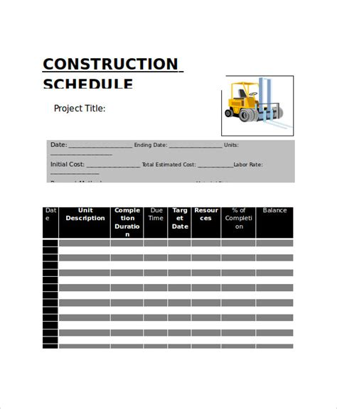 construction work schedule template construction work schedule templates 8 free word pdf