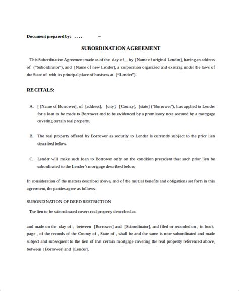subordination agreement template 9 subordination agreements free sle exle format