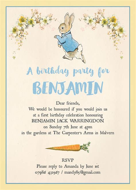 Free Online Cad Home Design by Beatrix Potter Peter Rabbit Party Invitation