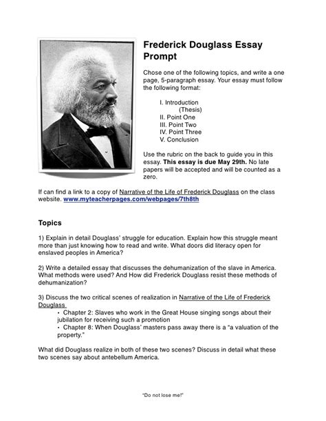 frederick douglass thesis statement frederick douglass essay prompt