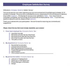 Employee Survey Templates by Employee Satisfaction Survey 8 Free Documents