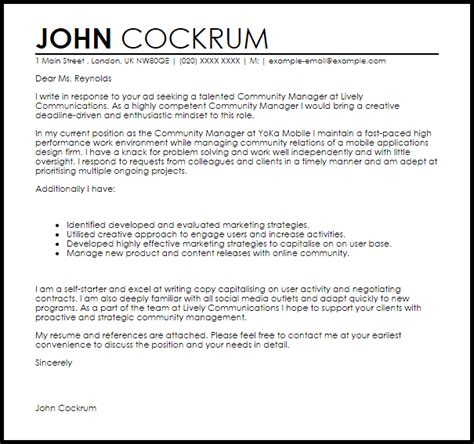 Community Manager Cover Letter by Community Manager Cover Letter Sle Livecareer
