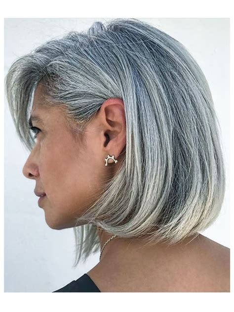 bangs and gray hair image result for grey silver hair shoulder length side
