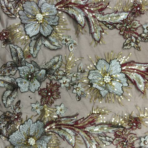 beaded fabric silver and burgundy sequin beaded embroidered tulle