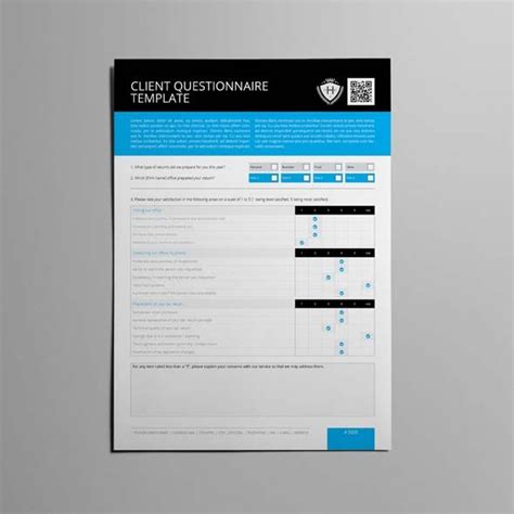 indesign template questionnaire client questionnaire template cmyk print ready clean