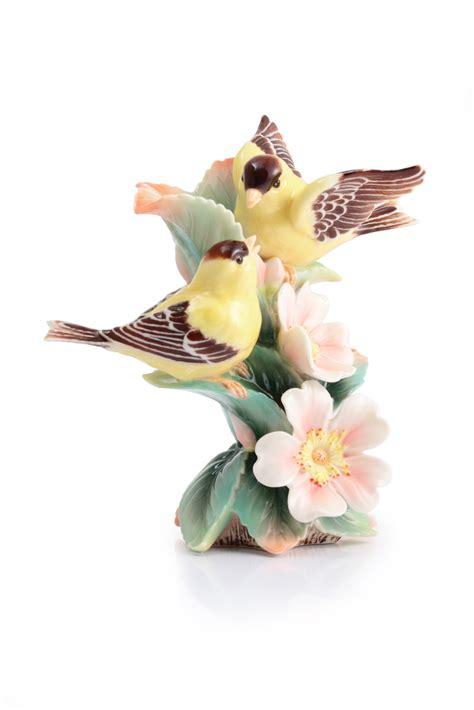 franz collection porcelain joyful bird figurine blue franz porcelain bonded by love goldfinch multiflora rose