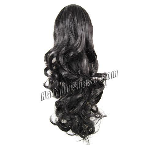 20 inch 1b black wavy 20 inch claw clip supple human hair ponytail curly 1b