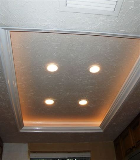 How To Build A Tray Ceiling With Lights Another Tray Ceiling Recessed Lighting Idea To Replace The Fluorescent Kitchen Lights Remodel