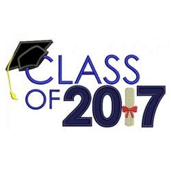 Monogrammed Fonts Graduation Class Of 2017 Applique Machine Embroidery Digitized Design Pattern